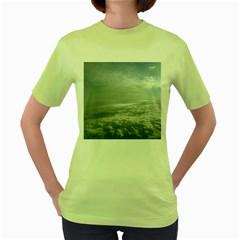Sky Plane View Women s Green T-Shirt
