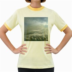 Sky Plane View Women s Fitted Ringer T-Shirts