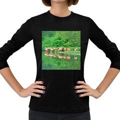 Flamingos Nature Green Pink Women s Long Sleeve Dark T-Shirts