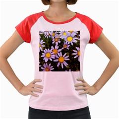 Yellow White Daisy Flowers Women s Cap Sleeve T-Shirt