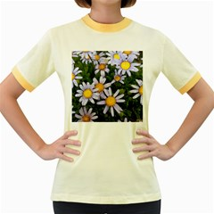 Yellow White Daisy Flowers Women s Fitted Ringer T-Shirts