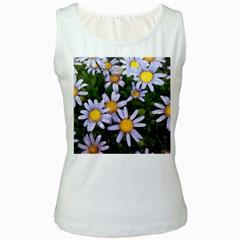 Yellow White Daisy Flowers Women s White Tank Top