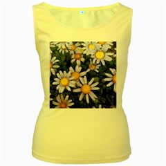 Yellow White Daisy Flowers Women s Yellow Tank Top