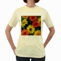 Orange Yellow Flowers Women s Yellow T Shirt