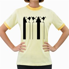 Funny Black and White Stripes Diamonds Arrows Women s Fitted Ringer T-Shirts