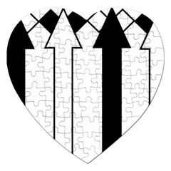Funny Black and White Stripes Diamonds Arrows Jigsaw Puzzle (Heart)