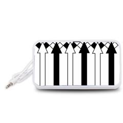 Funny Black and White Stripes Diamonds Arrows Portable Speaker (White)