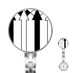 Funny Black and White Stripes Diamonds Arrows Stainless Steel Nurses Watch