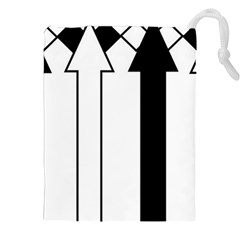 Funny Black and White Stripes Diamonds Arrows Drawstring Pouches (XXL)