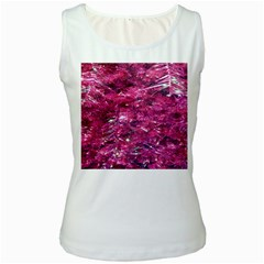 Festive Hot Pink Glitter Merry Christmas Tree  Women s White Tank Top