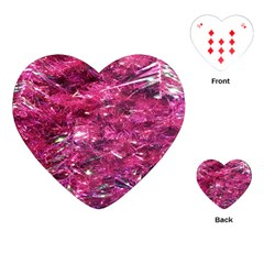 Festive Hot Pink Glitter Merry Christmas Tree  Playing Cards (heart)