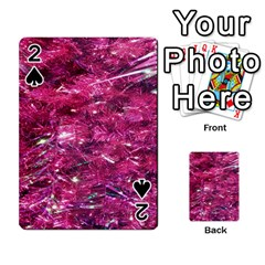 Festive Hot Pink Glitter Merry Christmas Tree  Playing Cards 54 Designs