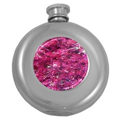 Festive Hot Pink Glitter Merry Christmas Tree  Round Hip Flask (5 oz)