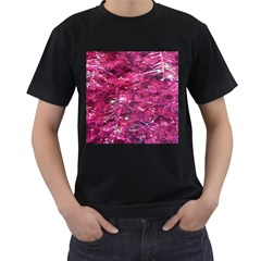 Festive Hot Pink Glitter Merry Christmas Tree  Men s T-Shirt (Black)