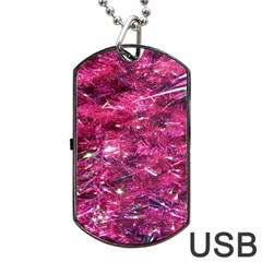 Festive Hot Pink Glitter Merry Christmas Tree  Dog Tag Usb Flash (two Sides)