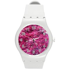 Festive Hot Pink Glitter Merry Christmas Tree  Round Plastic Sport Watch (M)