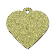 Festive White Gold Glitter Texture Dog Tag Heart (two Sides)