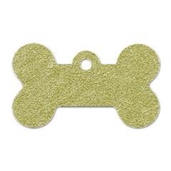 Festive White Gold Glitter Texture Dog Tag Bone (Two Sides)