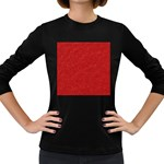 Festive Red Glitter Texture Women s Long Sleeve Dark T-Shirts Front