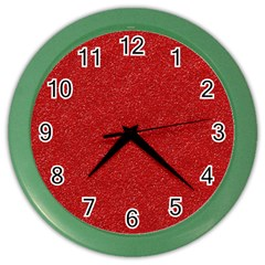 Festive Red Glitter Texture Color Wall Clocks