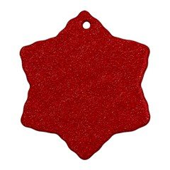 Festive Red Glitter Texture Snowflake Ornament (2 Side)