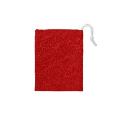Festive Red Glitter Texture Drawstring Pouches (XS)