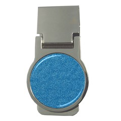 Festive Blue Glitter Texture Money Clips (Round)