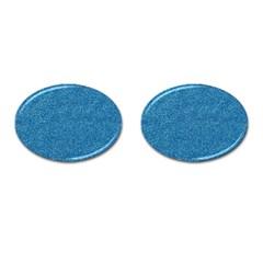 Festive Blue Glitter Texture Cufflinks (Oval)