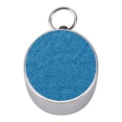 Festive Blue Glitter Texture Mini Silver Compasses