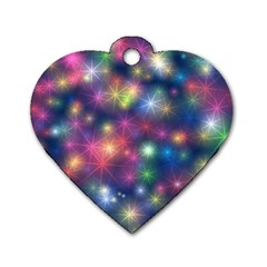 Starlight Shiny Glitter Stars Dog Tag Heart (One Side)