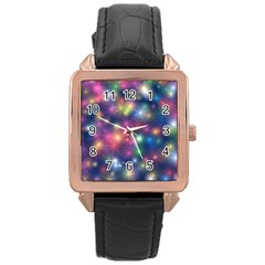 Starlight Shiny Glitter Stars Rose Gold Leather Watch