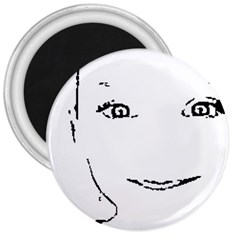 Portrait Black And White Girl 3  Magnets