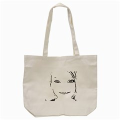 Portrait Black And White Girl Tote Bag (cream)