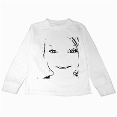 Portrait Black And White Girl Kids Long Sleeve T-Shirts
