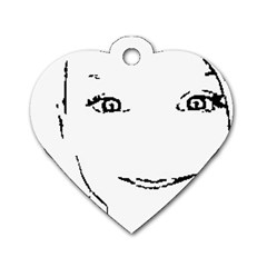 Portrait Black And White Girl Dog Tag Heart (Two Sides)