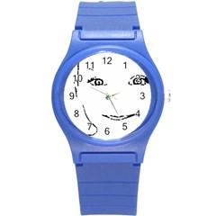 Portrait Black And White Girl Round Plastic Sport Watch (S)