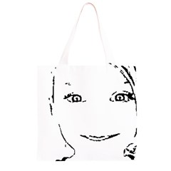 Portrait Black And White Girl Grocery Light Tote Bag