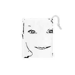 Portrait Black And White Girl Drawstring Pouches (xs)
