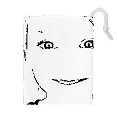 Portrait Black And White Girl Drawstring Pouches (Extra Large)