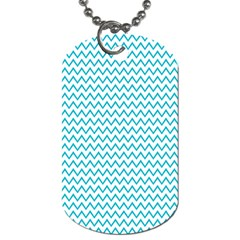 Blue White Chevron Dog Tag (One Side)