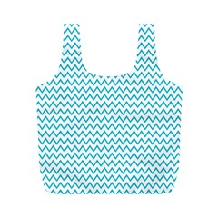 Blue White Chevron Full Print Recycle Bags (m)
