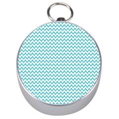 Blue White Chevron Silver Compasses
