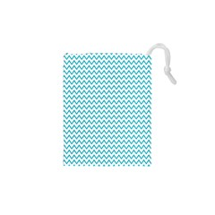 Blue White Chevron Drawstring Pouches (XS)