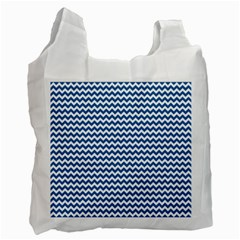 Dark Blue White Chevron  Recycle Bag (Two Side)