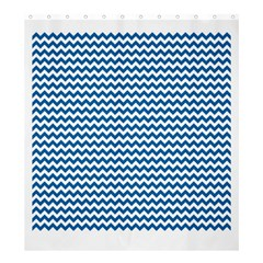 Dark Blue White Chevron  Shower Curtain 66  x 72  (Large)