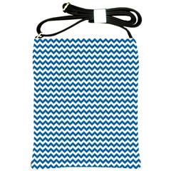 Dark Blue White Chevron  Shoulder Sling Bags
