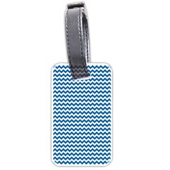 Dark Blue White Chevron  Luggage Tags (One Side)