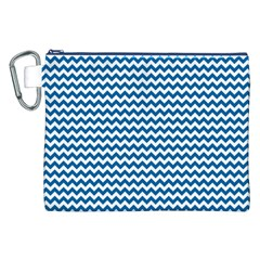 Dark Blue White Chevron  Canvas Cosmetic Bag (XXL)