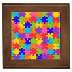 Funny Colorful Puzzle Pieces Framed Tiles