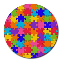 Funny Colorful Puzzle Pieces Round Mousepads